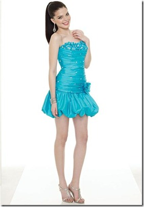 Blue-Short-Strapless-Dress