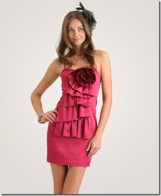 Rosette-Flounce-Satin-Dress